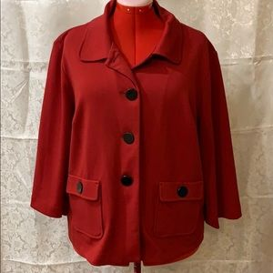 Cranberry red jacket with 3/4 sleeves